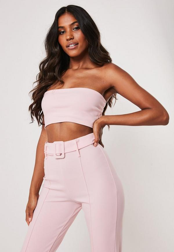 0a1c65631291 Pink Co Ord Stretch Crepe Belted Cigarette Trousers | Missguided ...