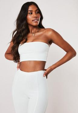 12f706fa423 White Long Sleeve Crop Tops · White Bardot Tops · White Bandeau