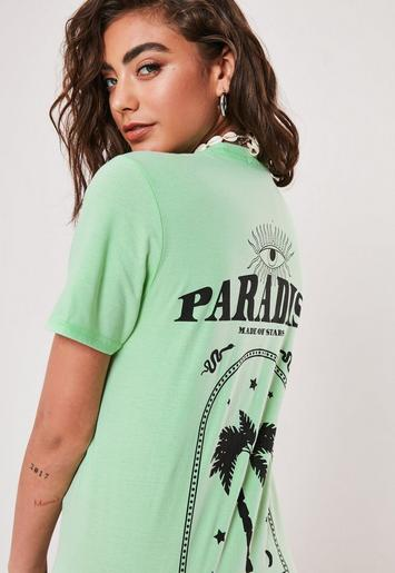 Mint Paradise Palm Print Back Graphic T Shirt by Missguided
