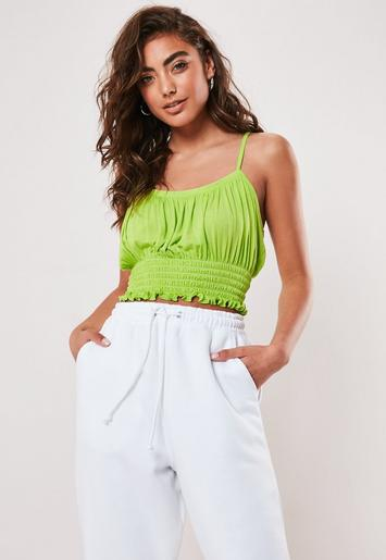 Green Shirred Hem Cami Top by Missguided