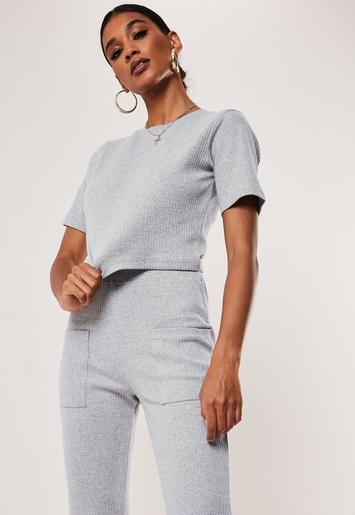 grey-co-ord-ribbed-crop-t-shirt by missguided