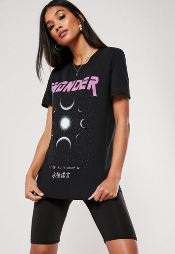 Black Wonder Planets Graphic T Shirt by Missguided