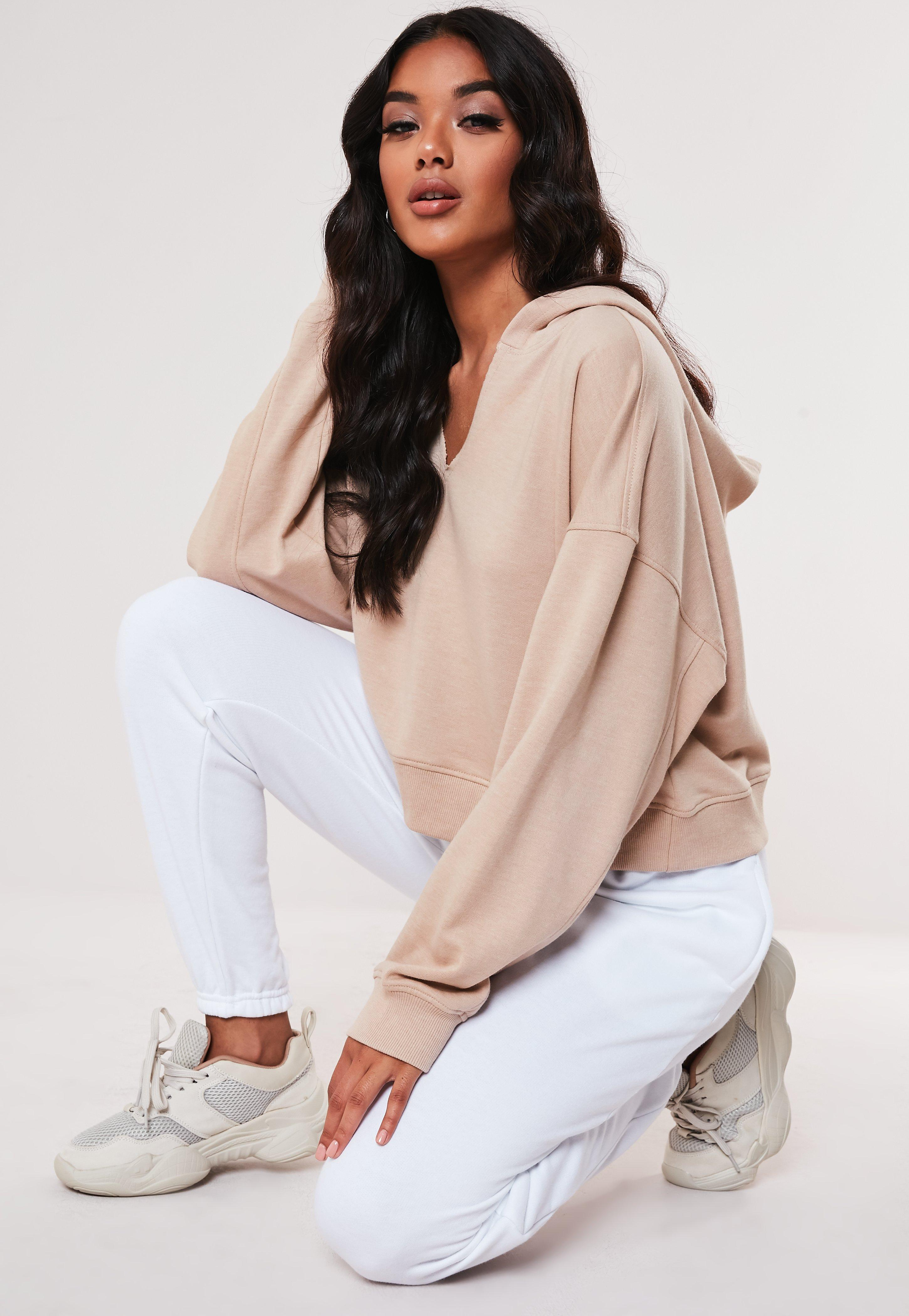 Sand Oversized Notch Neck Hoodie by Missguided