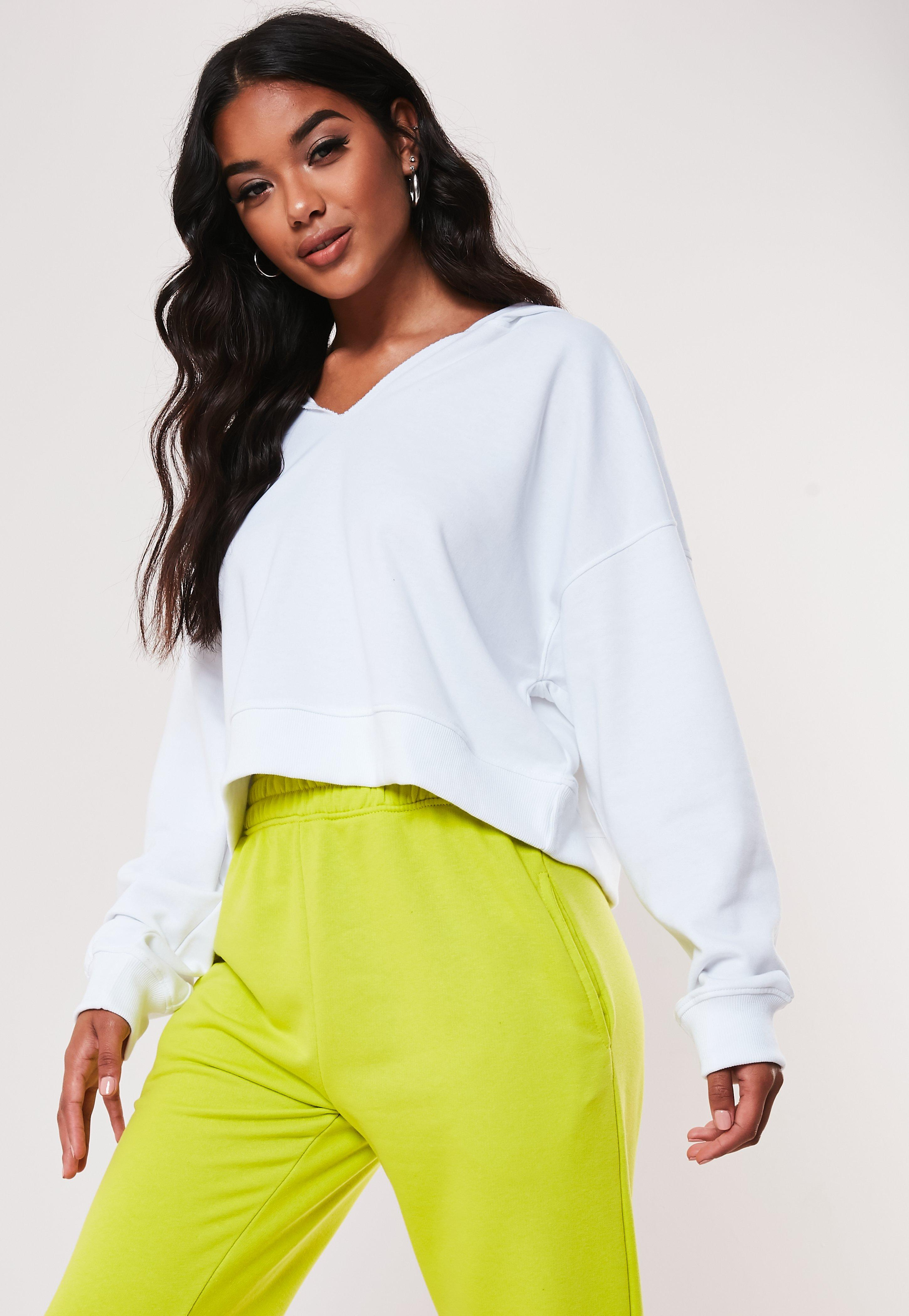 White Oversized Notch Neck Hoodie by Missguided