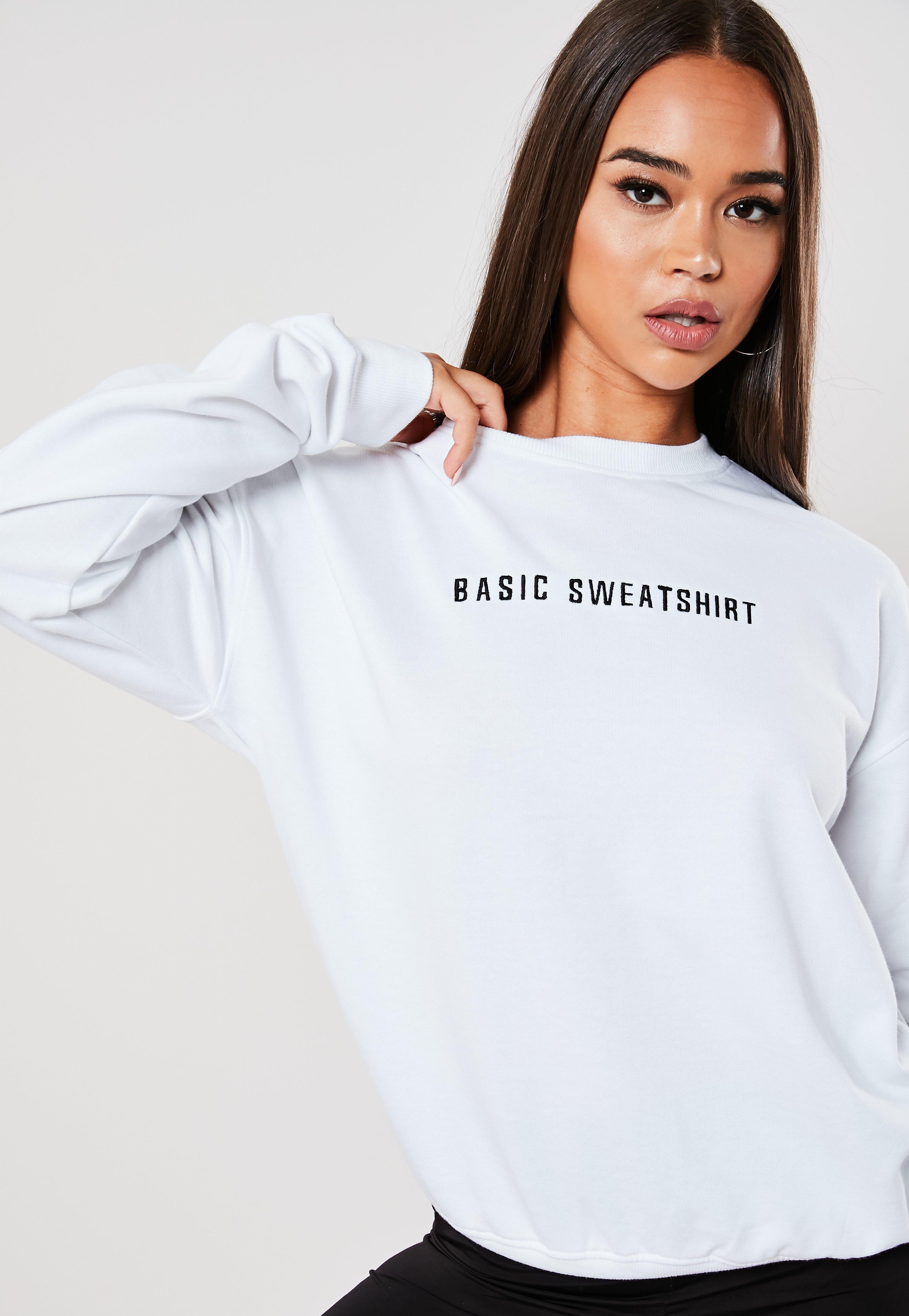b9fd563f1 White Embroidered Basic Sweatshirt