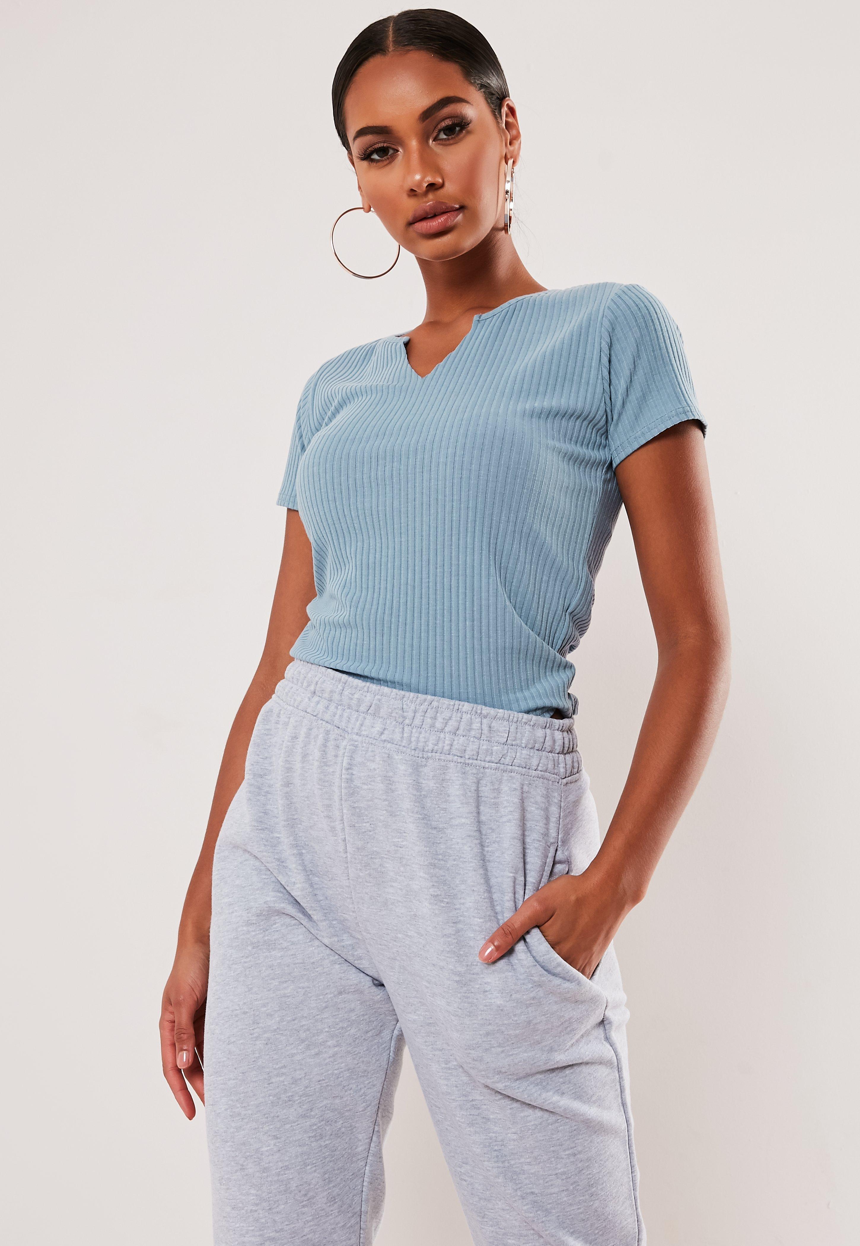 735b7515275 Blue Ribbed Notch Neck T Shirt