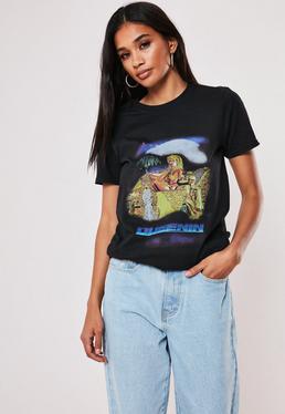 Черная футболка с рисунком Queenin