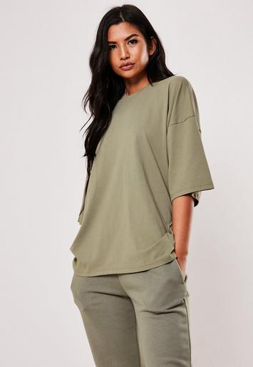 Khaki Drop Shoulder Oversized T Shirt by Missguided