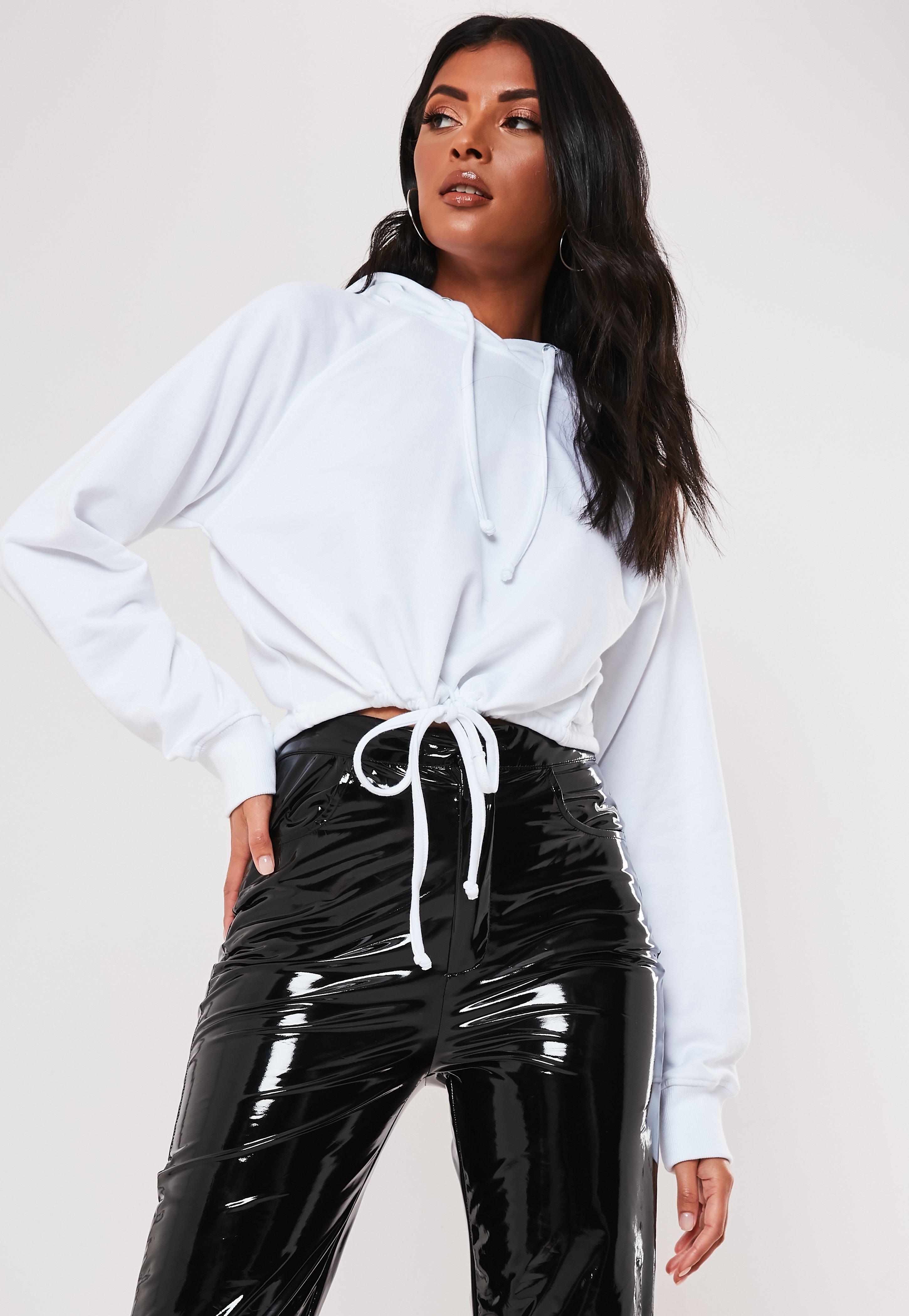 95fd4672718 White Drawstring Crop Sweatshirt