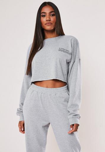 Grey Oversized Mg Slogan Cropped Sweatshirt by Missguided