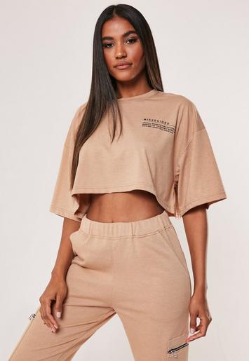 Camel Mg Slogan Drop Shoulder Oversized Cropped T Shirt by Missguided