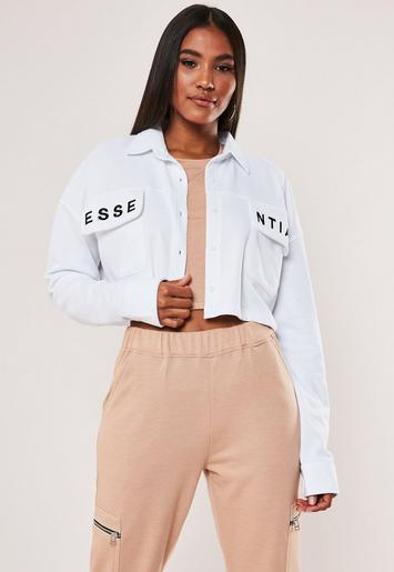 White Essential Embroidered Cropped Sweatshirt by Missguided
