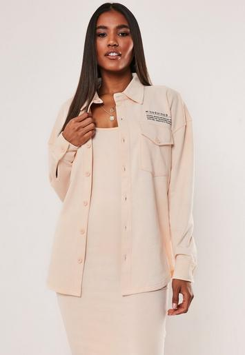 Sand Missguided Slogan Oversized Jersey Shirt by Missguided