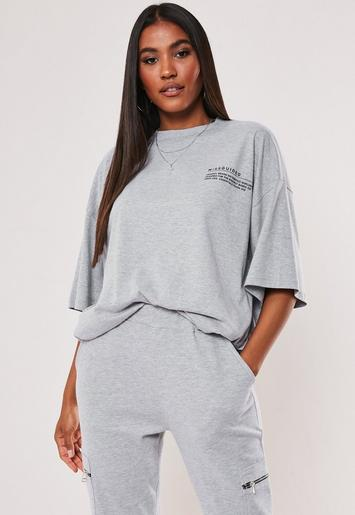 Grey Mg Slogan Drop Shoulder Oversized T Shirt by Missguided