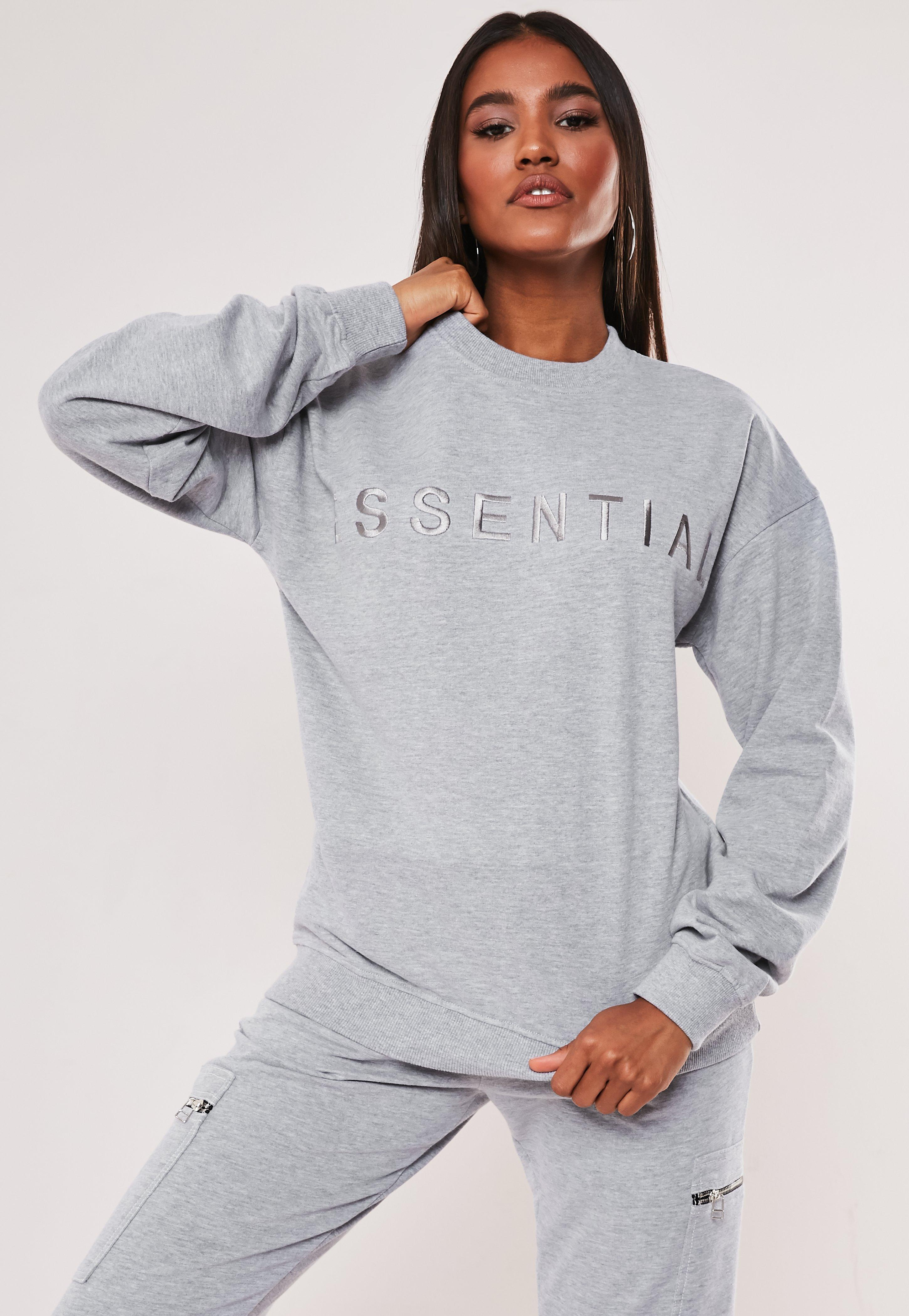 Gray Essential Embroidered Sweatshirt by Missguided