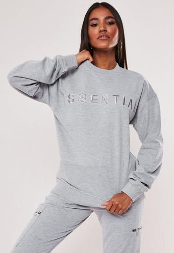 Grey Essential Embroidered Sweatshirt by Missguided