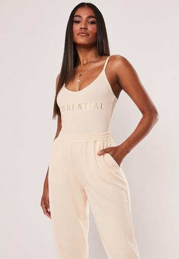 Sand Strappy Cami Essential Embroidered Slogan Bodysuit by Missguided