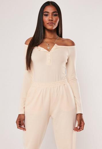 Sand Button Front Long Sleeve Bodysuit by Missguided
