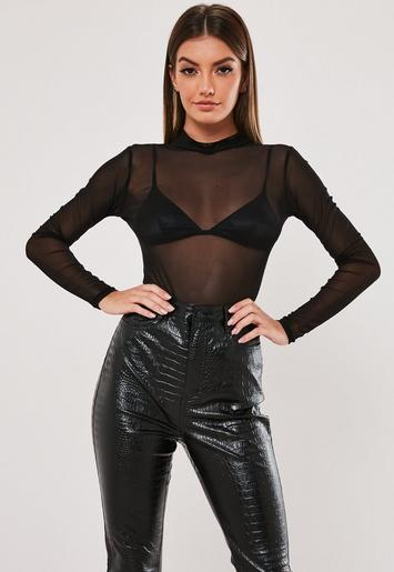 Black High Neck Mesh Bodysuit by Missguided