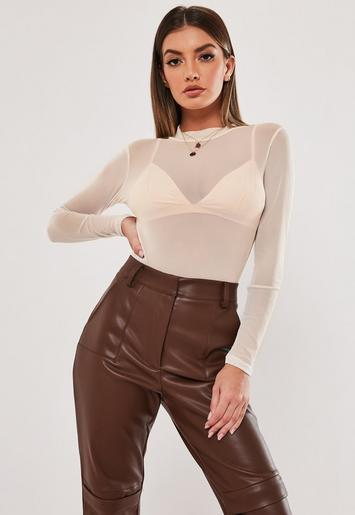 Stone High Neck Mesh Bodysuit by Missguided