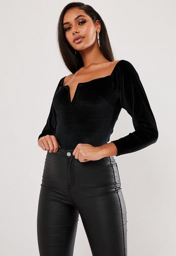 Black Velvet V Bar Square Neck Bodysuit by Missguided