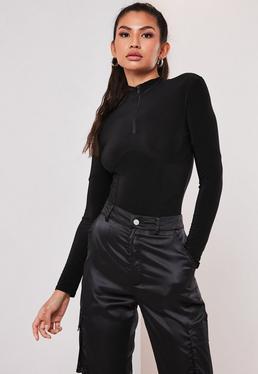 Black Slinky High Neck Corset Bodysuit