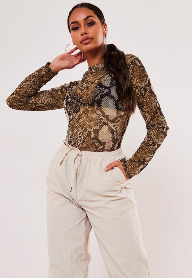 brown snake print mesh high neck bodysuit