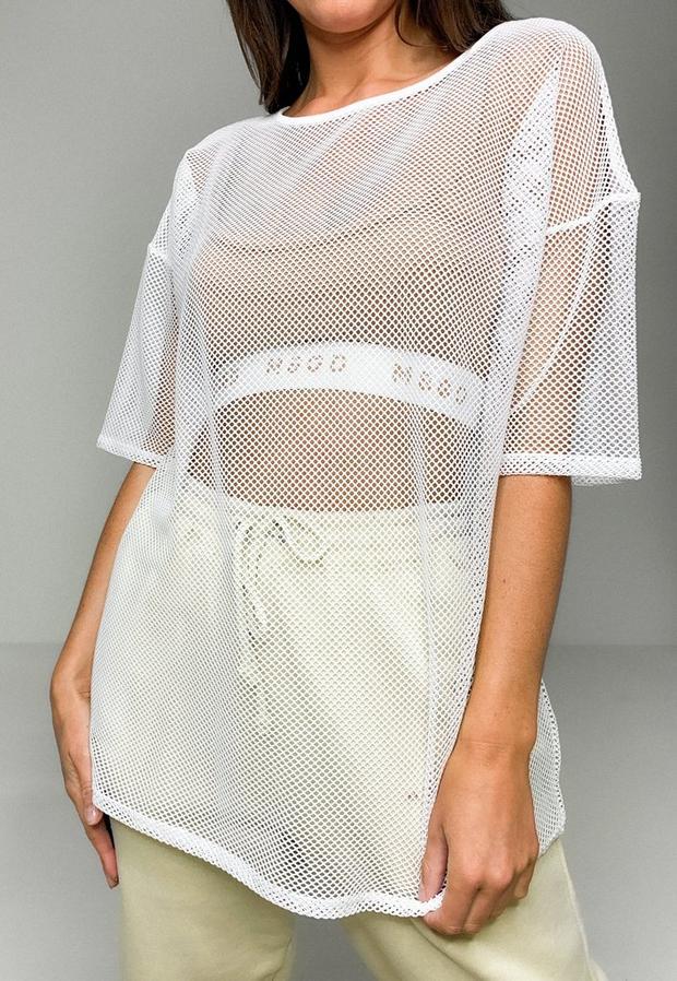 white fishnet oversized t shirt