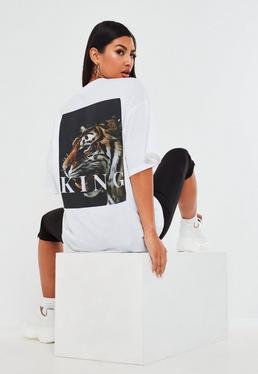 Bia?y lu?ny t-shirt z nadrukiem Tiger na plecach