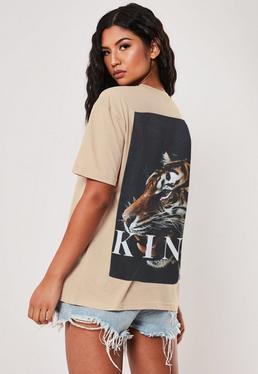 Be?owy lu?ny t-shirt z nadrukiem Tiger na plecach