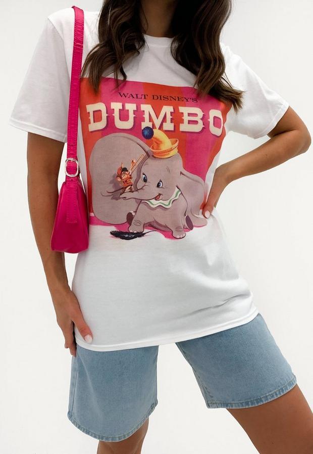white disney dumbo graphic t shirt