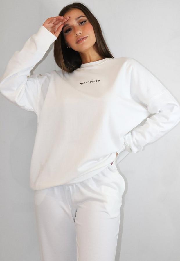 white brushed back missguided oversized sweatshirt