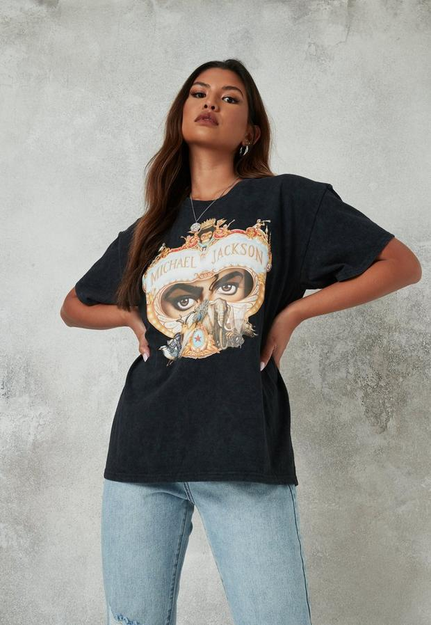 black washed michael jackson graphic t shirt
