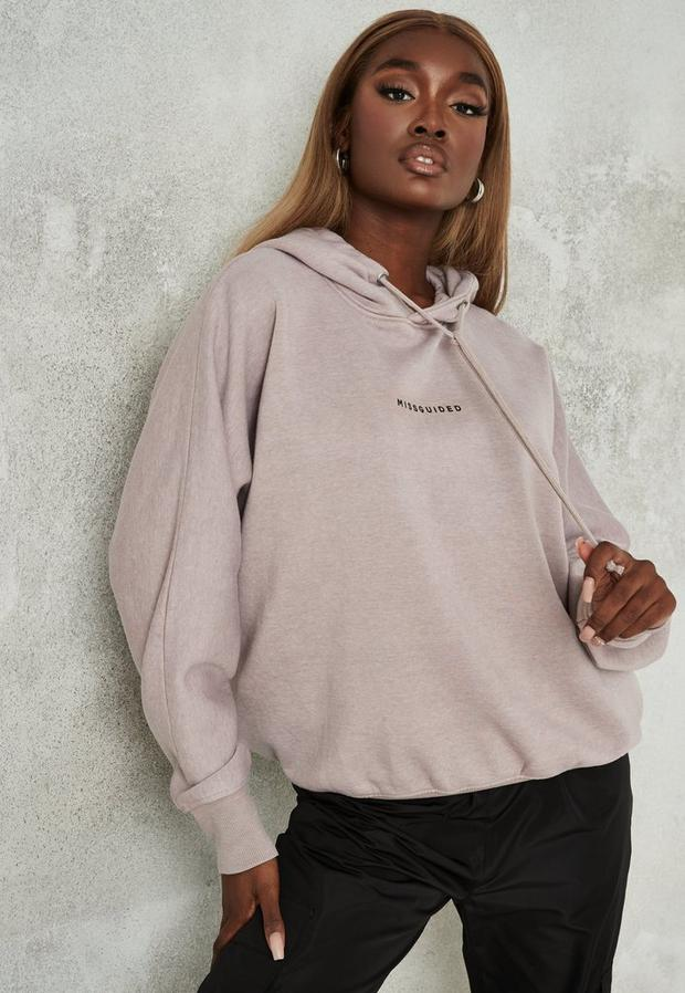sand missguided brushed back extreme oversized hoodie