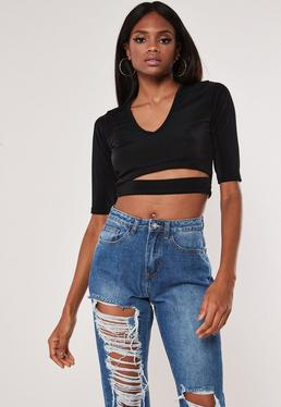 b0ea8359a2bc3 Black Wrap Over Tie Side Blouse · Black Slinky Cut Out Crop Top