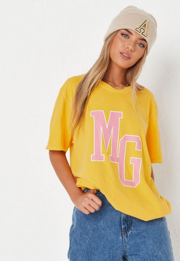 yellow mg graphic t shirt