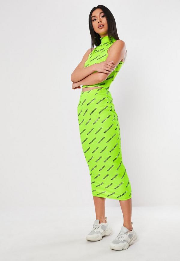 9bb9a0e847615 Neon Green Missguided Slogan High Neck Crop Top