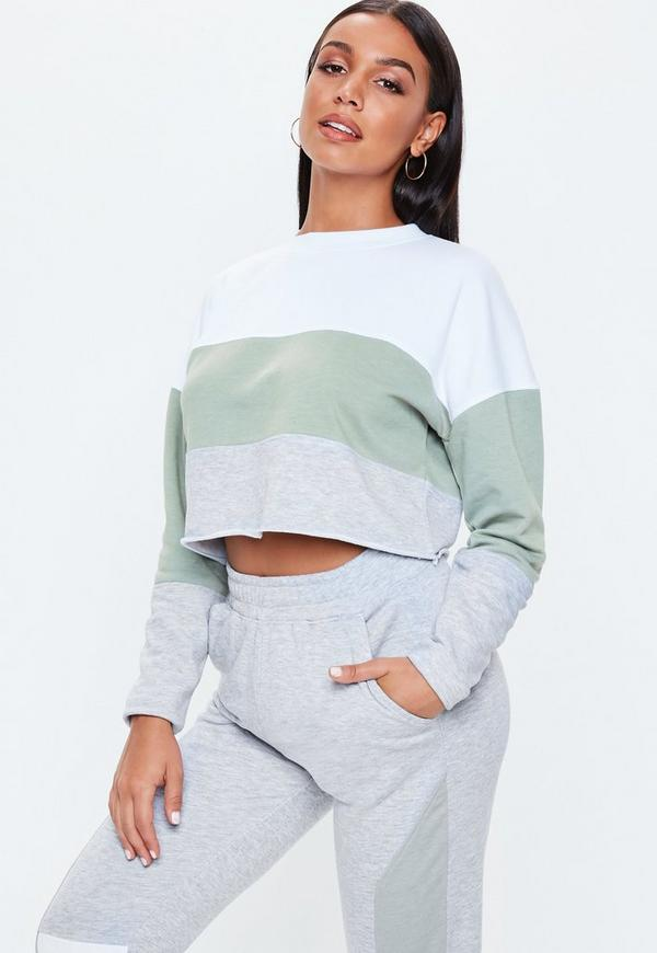 White Contrast Panel Cropped Sweatshirt by Missguided
