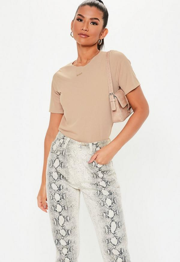Sand Ribbed Boxy T Shirt by Missguided