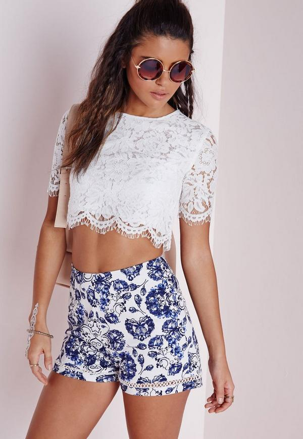 Lace Scallop Crop Top