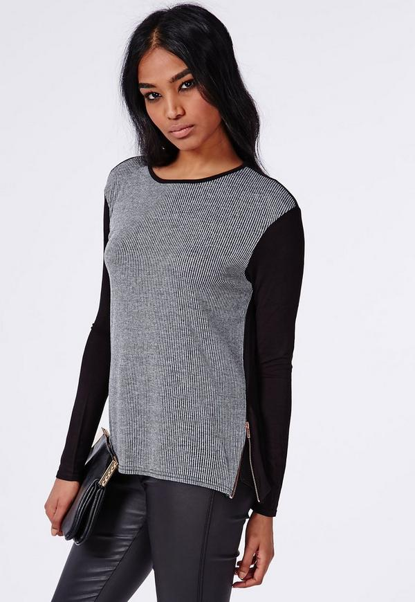 Ribbed Panel Jersey Top Washed Grey