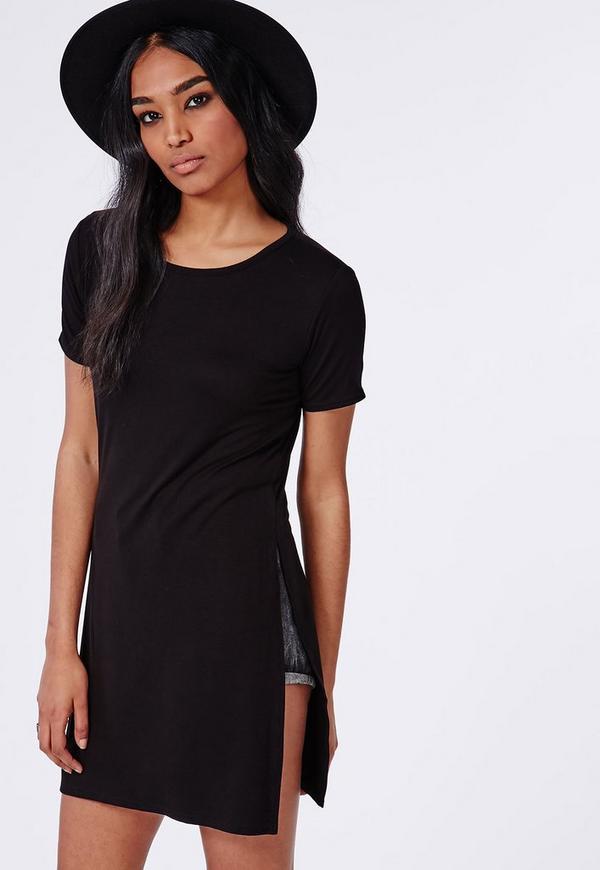 split side t shirt black missguided. Black Bedroom Furniture Sets. Home Design Ideas