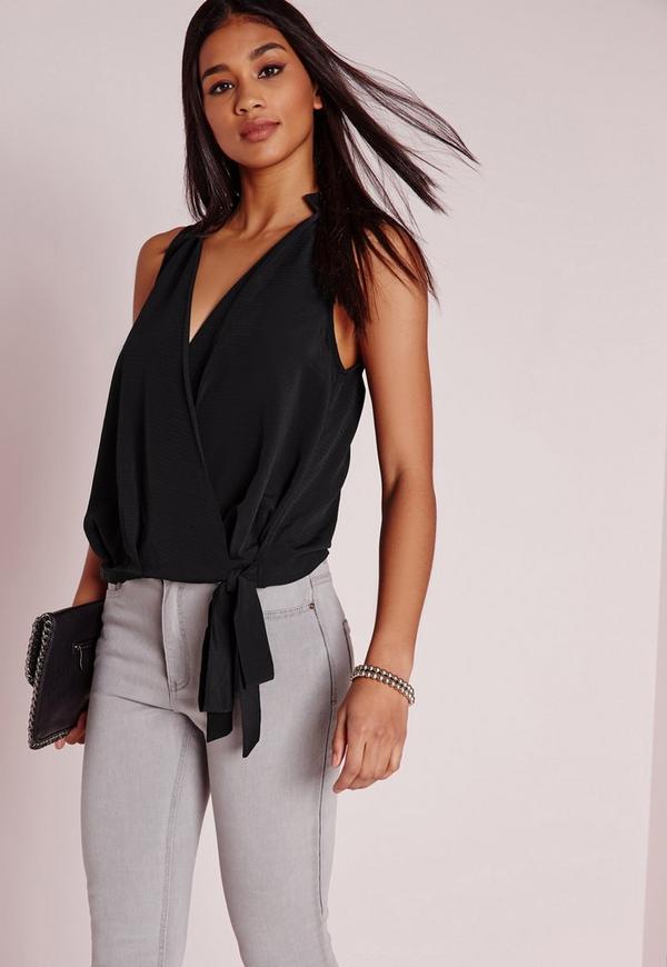 Wrap Hem Sleeveless Tie Blouse Black