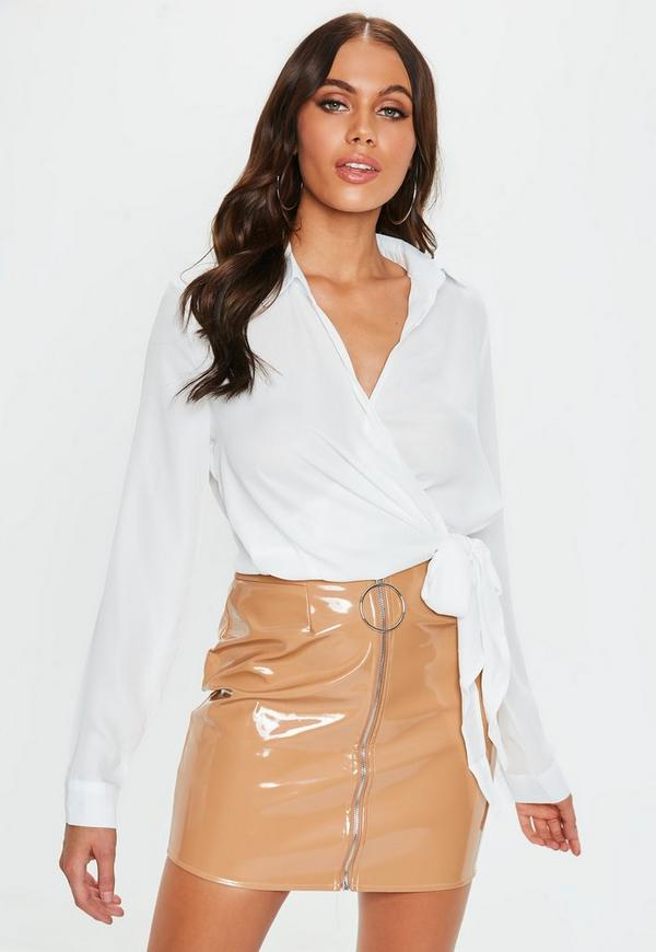 Wrap Over Tie Side Blouse Ivory-16