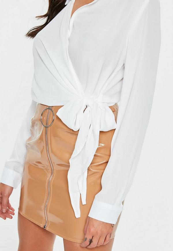 Ivory Wrap Over Tie Side Blouse Missguided