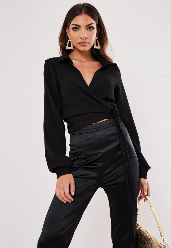 Black Wrap Over Tie Side Blouse Missguided