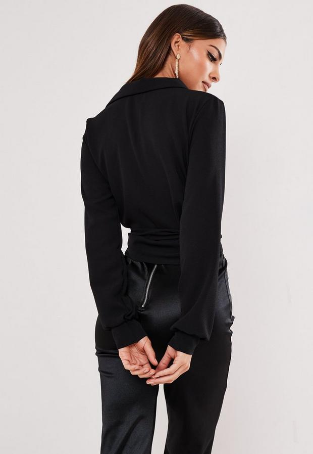Missguided - Wrap Over Tie Side Blouse - 4