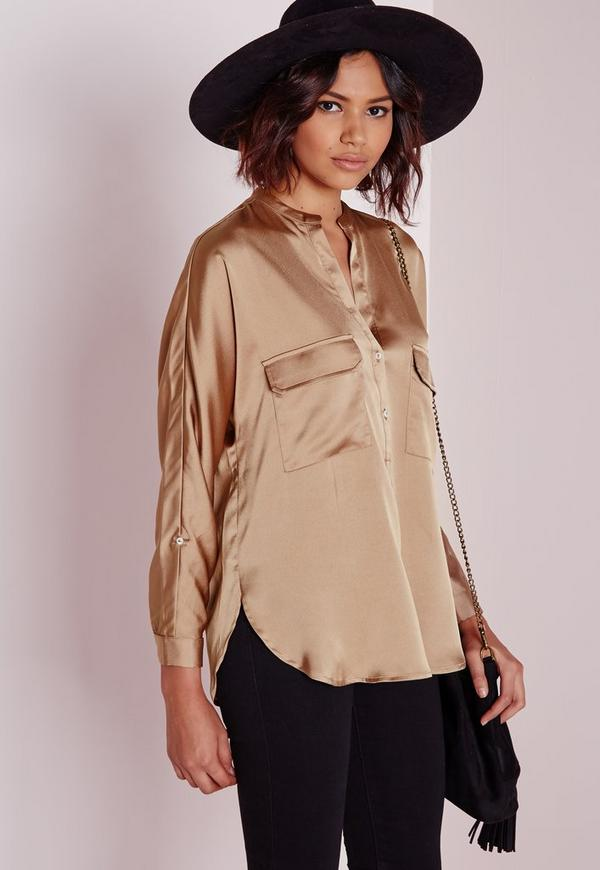 Long Sleeve Silky Shirt Nude