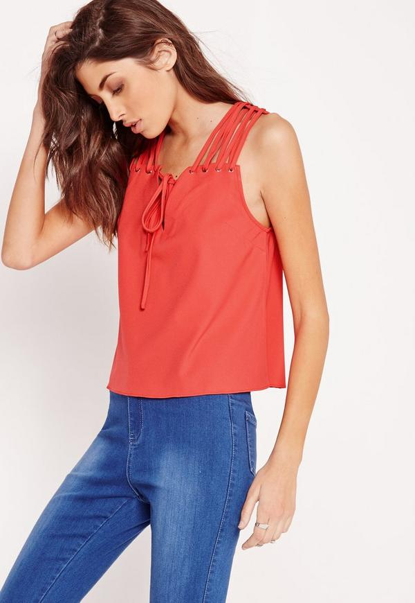 Lattice Shoulder Cropped Blouse Red