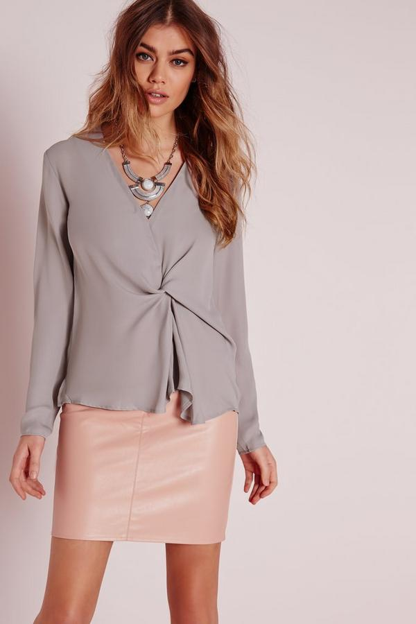 Twist Front Blouse Grey
